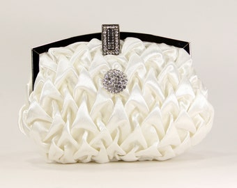 Wedding Purse, bridal clutch - Ivory vintage inspired satin clutch with a sparkling rhinestone accent, Bridal accessories, gift for bride