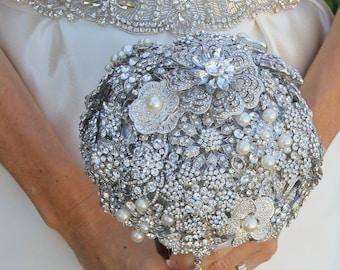 Crystal Bouquet, Brooch Bouquet, Bridal Bouquet, Wedding Bouquet, Bridesmaids Bouquet, Wedding Brooch, Wedding, Brooch Bouquet - DEPOSIT