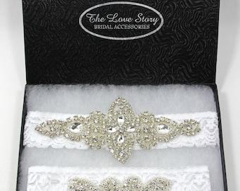 Garters - Wedding Garter, Bridal Garter, Rhinestone Garter, Lace Garter - Vintage Wedding - Style 001 A, Bridesmaid Gift