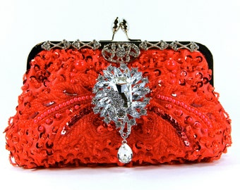 Red Purse, Red Beaded Clutch, Red Evening Bag, Red Clutch, little red dress, Red accessories, Wedding, Gift for her, July 4th, CIJ