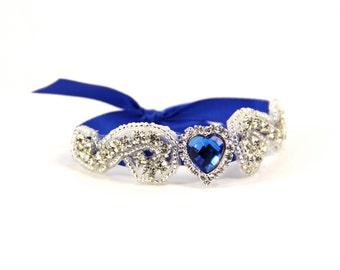 Royal Blue Bridal Cuff, Bridal Bracelet, Rhinestone Bridal Cuff, Bridesmaid Jewelry - Something Blue