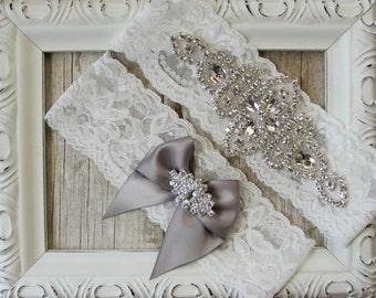 Wedding Garter - Customizable Vintage Garter Set with Crystals & Rhinestones on Comfortable Lace, Bridal Garter Set, Crystal Garter Set