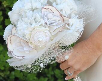 Fabric Bouquet, Vintage Bouquet, Rustic Bouquet, Unique Wedding Bridal Bouquet