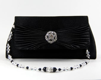 Evening Bag & Necklace - Black Satin Evening Bag with optional Swarovski and Pave' Crystal Handle That Also Doubles As A Necklace, wedding