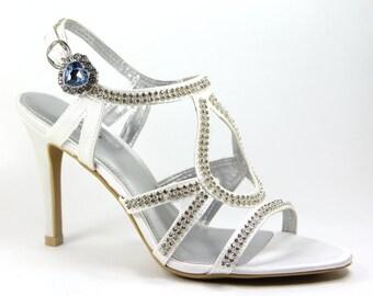 Rhinestone Shoe clips - SET OF 2 rhinestone shoes clips, Rhinestone shoe clips, Topaz Heart Shoe clips