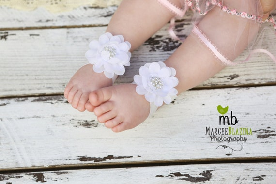 Barefoot Sandals White Flower Sandals Toddler Sandals Etsy
