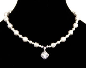 Pearl Necklace, Bridal Necklace, Necklace, Cubic Zerconia Necklace with rare Freshwater Pearls embedded with Cubic Zerconias