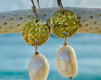 Sea Urchin Earring with Fine Silver and 22k gold with Freshwater Pearl