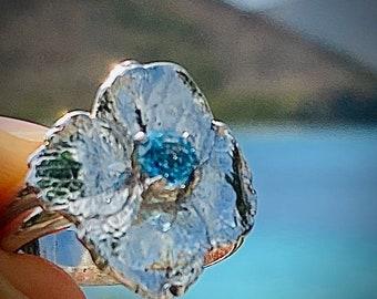 Hydrangea Flower Ring with Sky Blue Topaz
