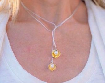Calla Lily Lariat in 22k Gold and  Pure Silver