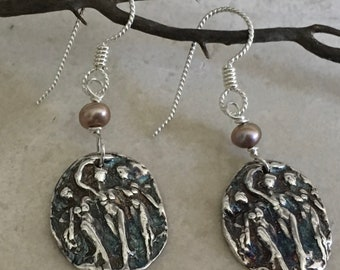 Three Graces Earring with Champagne Pearl