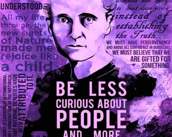 Marie Curie Science Quotes Poster