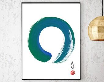 Enso Zen Art Japanese Art Zen Wall Art Print Blue Green Minimalist Abstract Painting Large Japanese Painting Japanese Calligraphy Zen Circle