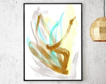 Abstract Art Print Modern Art Print Large Abstract Painting Mint Green Art Mint Art Grey Modern Minimalist Art Gold Painting Gold Wall Art