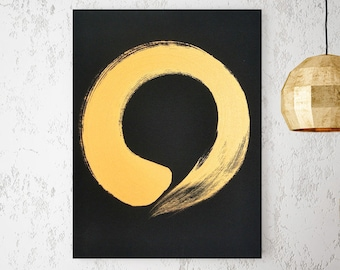 Black Gold Art Original Abstract Painting Gold Modern Minimalist Art Gold Painting Gold Abstract Art Japanese Art Zen Art Enso Zen Circle