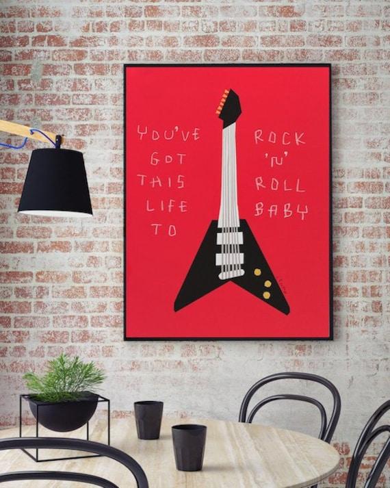 Guitar Art Rock N Roll Music Art Pop Art Painting Modern Art Gibson Musician Gift Funny Inspirational Print Positive Motivational Wall Art