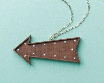Studded walnut Arrow Sign Necklace by Tiny Scenic | Retro style arrow