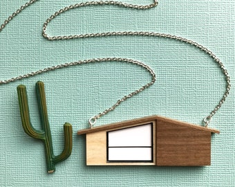 Last one! Wooden House Necklace | MidCentury Modern House Necklace | Walnut Necklace | Wooden Jewelry | Laser cut Jewelry