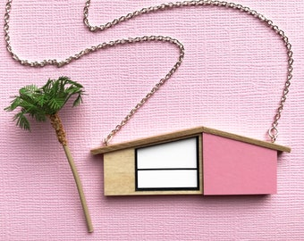 Palm Springs House Necklace | MidCentury Modern | Pink House Necklace | Wooden Jewelry | Laser cut Jewelry