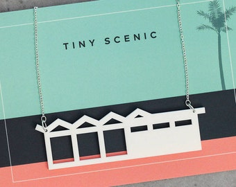 Modernist house necklace | Laser cut house necklace with zig-zag roof by Tiny Scenic | Gift for architect