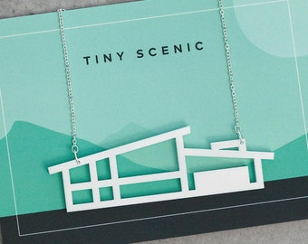 Laser-cut Mid Century house necklace by Tiny Scenic | Architectural blueprint necklace