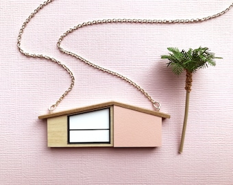 Blush pink midcentury house necklace by Tiny Scenic