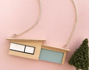 Midcentury bungalow necklace with Blue Formica garage