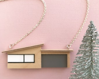 Midcentury bungalow necklace with Grey Formica garage