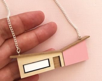 Pink Butterfly Roof House Necklace - wood & Formica