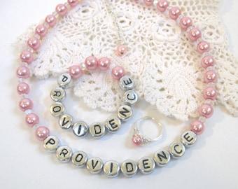 Newborn Jewelry Set w/ Necklace Bracelet Ring Infant Pearl Personalized Custom Name Baby Girl Pink Child Baptish Shower Christening Gift
