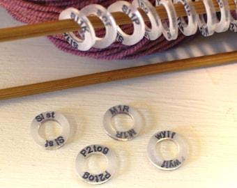 Pattern Reminder Knitters Helper Knitting Reminder Stitch Marker Stitchmarker Knitting Instruction Abbreviation Knitting Helper Gift