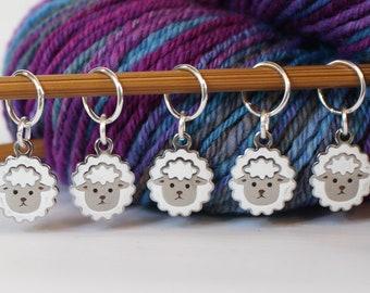 5 Puffy Sheep Stitch Marker Set Silver Stitchmarker Knitting Crochet Charms to Mark Stitches Stitch Marker