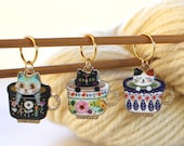 3 Stitch Marker Cat Kitten Set of Enamel Stitchmarker Knitting Crochet Charms to Mark Stitches Knit Gift Crochet Removeable Notion Gift