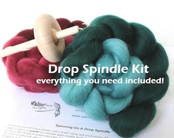 Drop Spindle Kit for Beginner w/ Fiber Top Whorl Wool Yarn Spinning Handspun Roving