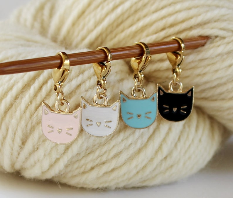 Cat Kitten Stitch Marker Set of Enamel Stitchmarker Knitting image 0