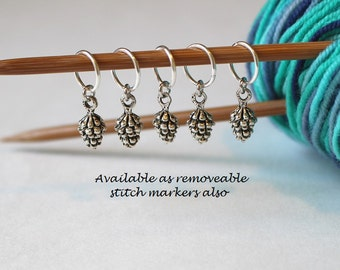 5 Stitch Marker Pinecone Set of Silver Stitchmarker Knitting Charms to Mark Stitches Pinecones