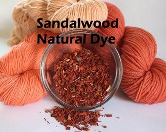 Sandalwood Wood Chip Whole Natural Plant Dye for Yarn Protein Dyes Earth Friendly Fiber Wool Silk Mordant orange peach coral