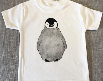 dfe8508a5a Penguin T-shirt | Baby penguin | penguin top | Children's clothing |  handmade | Unisex clothing | short sleeved | cute top | Animal print