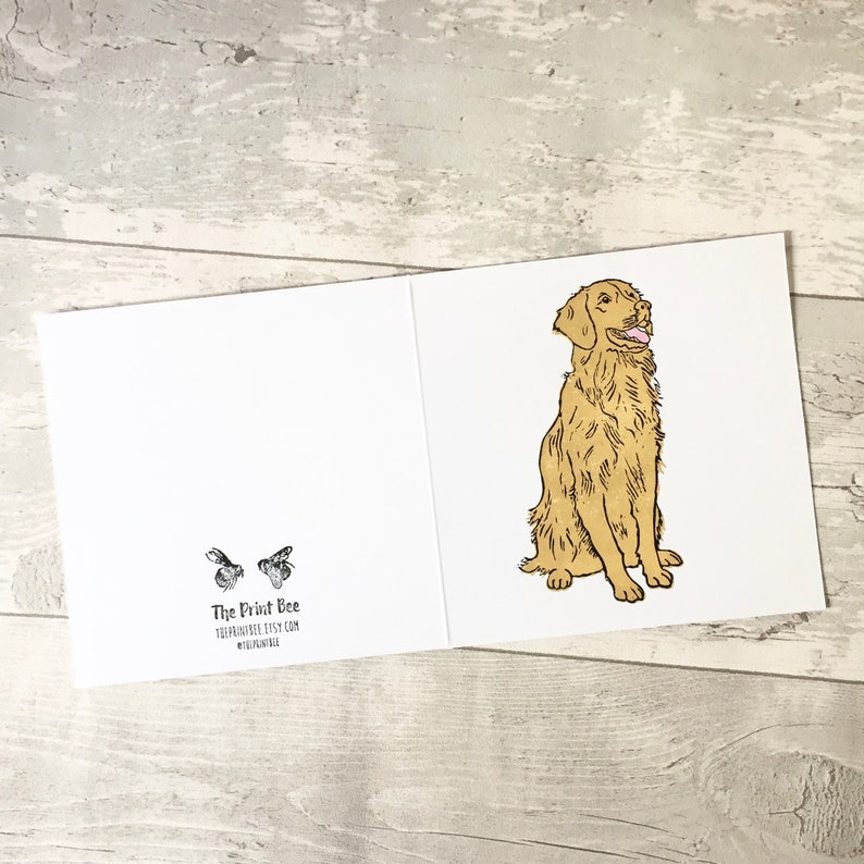 Golden Retriever Greetings Card Dog Print Canine Birthday