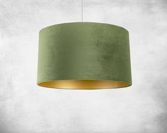 Lampshade 60 cm Gold & Velvet Matcha Green
