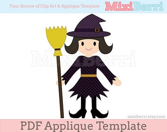 witch hat applique template pdf etsy