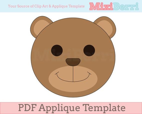 Teddy bear applique template pdf instant download quilt etsy