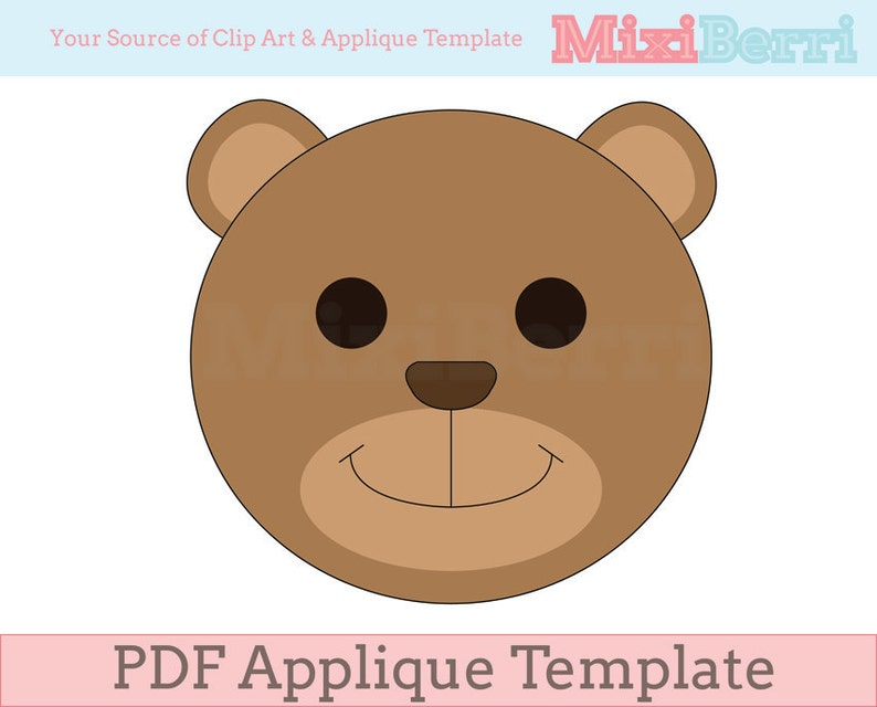 Teddy bear applique template pdf instant download quilt etsy
