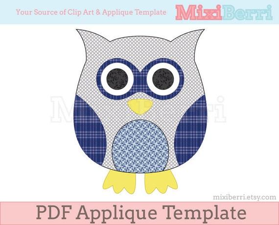 owl template pdf Blue Owl Applique Template PDF Applique Pattern Instant | Etsy