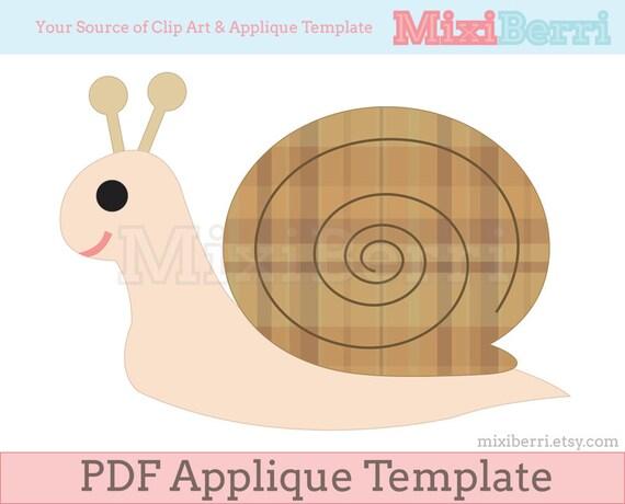 snail applique template pdf instant download etsy