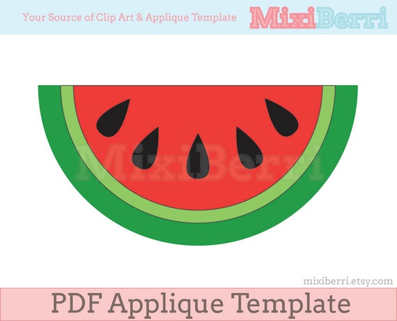 watermelon slice applique template pdf instant download etsy