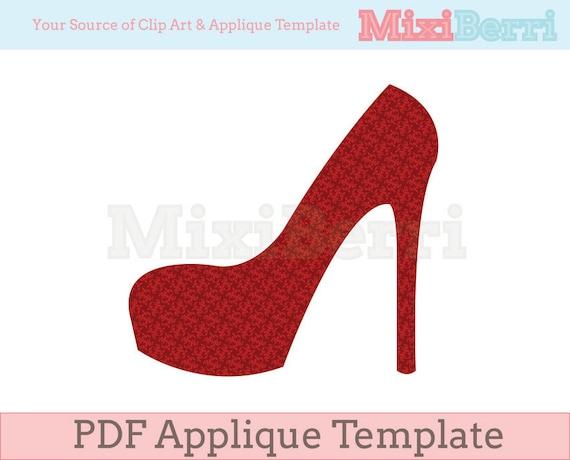 High Heel Applique Template PDF Instant Download | Etsy