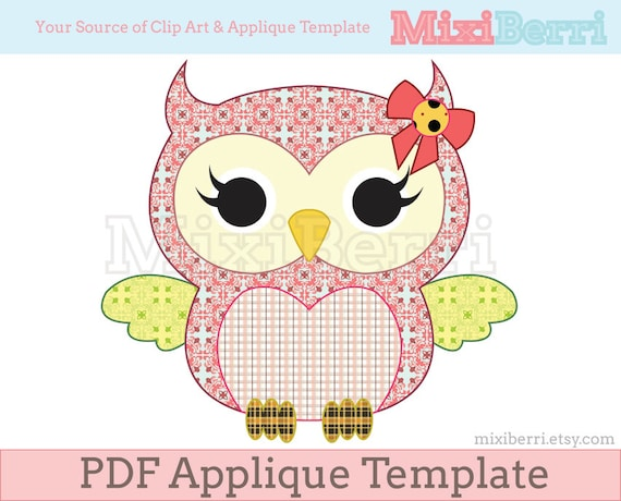 Miss Owl Applique Template PDF Animal Pattern Instant