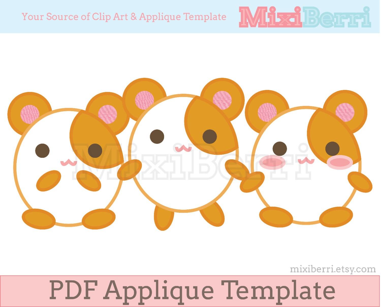 Hamsters lindos apliques patrón PDF apliques coser plantilla   Etsy