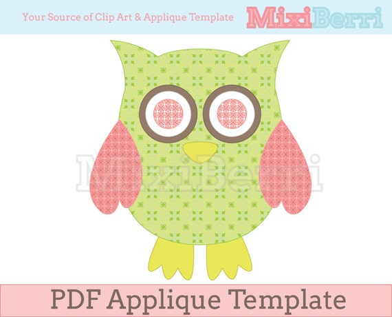 owl green and pink applique template pdf instant download etsy